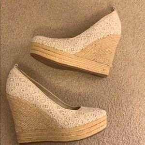 White lace wedges heels